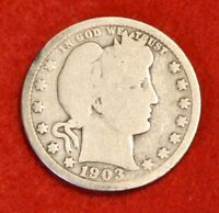 1903-P BARBER QUARTER G 90% SILVER COLLECTOR COIN GIFT BQ310