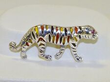 GENUINE! 0.03cts African Ruby & Enamel Tiger Brooch Solid Sterling Silver 925.