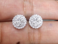 Deal! 1.05CT NATURAL ROUND DIAMOND HALO CLUSTER STUDS EARRINGS IN 14K GOLD 9MM