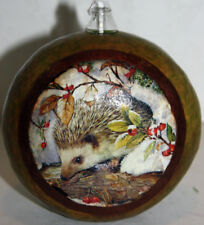gourd oil lamp or candle with hedgehog