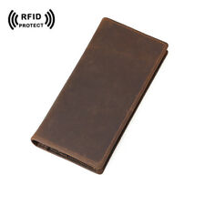 Mens RFID Leather Long Wallet Purse Bifold Passport Ticket Holder ID Gift Brown