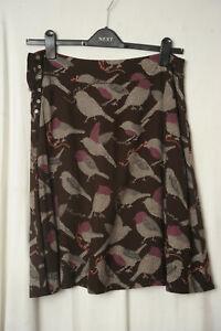 White Stuff Reversible brown & magenta birds / dogs floaty skirt Size 10 VGC