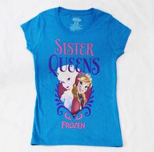 Disney Frozen Girls LOVE SISTER QUEENS Licensed T-Shirt Turquoise Short Sleeve
