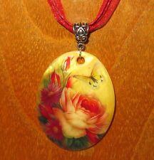 Giclee Pendentif de Style Russe Authentique Rose Fleur Rose COQUE Mignon Cadeau