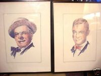 YEAR END SALE LARGE FRAMED WILL ROGERS AND W. C. FIELDS COLOR PRINTS AS FOUND