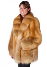 Womens Real Red Fox Fur Coat Jacket - Natural Fox