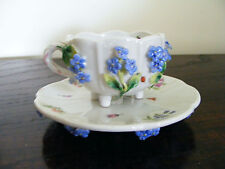 J.R. (G.R) Richards  Milan c1870 Flower Encrusted Forget - Me- Not  Cup & Saucer