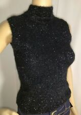Fuzzy Womens Turtle Neck Sleeveless Sparkly Stretch top Size S See Measurements