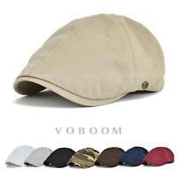 Solid Cotton Gatsby Cap Mens Ivy Hat Golf Driving Summer Sun Flat Cabbie Newsboy