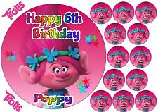 "TROLLS POPPY CAKE TOPPER 7.5"" ROUND PERSONALISED EDIBLE ICING + 12 PINK CUPCAKE"