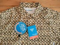 🐟 New Columbia PFG Camp Shirt Yellow Aloha Fishing Vented Shirt Small S