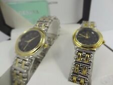 Geneva Men's & Women's Two Tone Black Dial Classic Collection Watch Set G-38