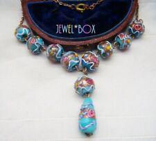 Antiguo Art Deco Veneciano Azul Pastel De Bodas Rosas Medallón Vintage Necklace