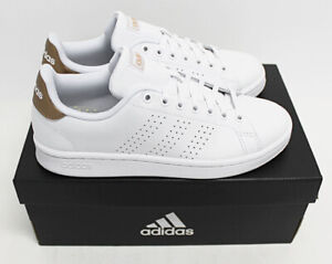 NIB ADIDAS Women's Advantage White Bronze Leather Low Top Sneakers Tennis Shoes