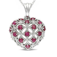 """Sterling Silver 925 14k White Gold Heart Ruby Pendant w/ 18"""" Chain Necklace"""