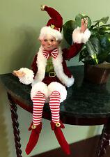 "New Raz Posable Elf in Santa Suit 16"" Ornament Christmas Wreath Tree Decor Red"