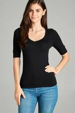 20 PCS Wholesale Lot ~ SMALL BLACK Women's V Neck Elbow Sleeve T-shirt Tee Top