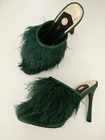 NEW WOMENS RIVER ISLAND TRUMPET GREEN FEATHER SLIP ON HEELED SANDALS SHOES UK 6