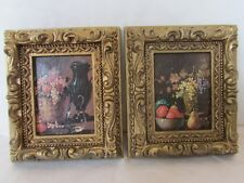 Vintage 1971 Burwood Products Plastic Framed Art Victorian Painted Fruit Lot