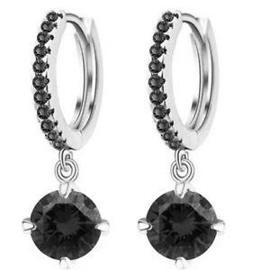 Elegant Black Zircon Dangling Stone Office Silver Plated Hoops Earrings Lady