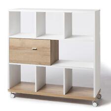 Libreria moderna legno con ruote e anta scorrevole rovere e bianco opaco 120 cm