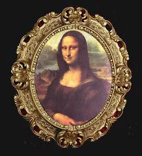 Gemälde Oval Mona Lisa Bild mit Bilderrahmen BAROCK Antik look 45x38 cm Bilder
