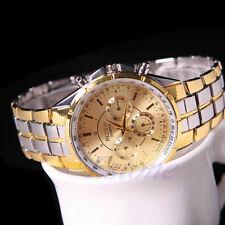 Fashion Men's Stainless Steel Luxury Date Gold Dial Analog Quartz Wrist Watch