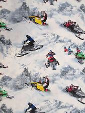 SNOWMOBILE SPORT WINTER SPORTS COTTON FABRIC FQ
