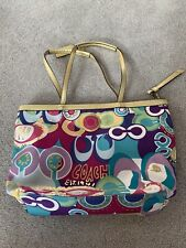 COACH POPPY POP C PURSE GRAFFITI MULTI COLOR FABRIC GOLD LEATHER TOTE BAG F19434