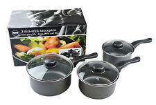 Set of 3 Non Stick Saucepans Cookware Cooking Pots Pan Set With Lids