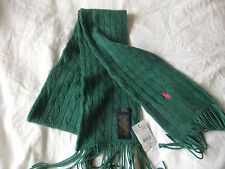 RALPH LAUREN CLASSIC CABLE KNIT SCARF>GREEN>LONG FRINGE>WOOL/CASHMERE>BNWT