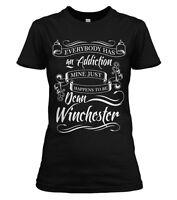 Supernatural Womens T-SHIRT Black S-4XL New Dean Winchester Addiction