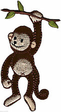 Monkey Iron On Embroidered Patch Motif Applique 8cm x 4cm Sewing Crafts