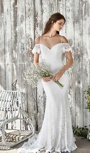 Lillian West Beach/ Boho Mermaid Wedding Dress Size 10 Sand/ivory Stretch Lace.