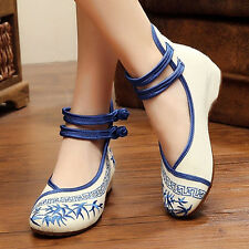 Hot Magic Women Ladies Embroidery Bamboo Ethnic Dichotomanthes Casual Shoes