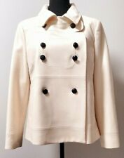R.E.D Valentino Double Breasted Virgin Wool Pea Coat in Cream. Women's Italy 46