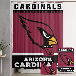 Arizona Cardinals 4PCS Rugs Set Shower Curtain Bath Mat Toilet Seat Cover Gifts