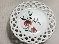 Westmoreland White Milk Glass Plate with Hand Painted flowers
