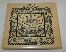 "Happy Birthday Rubber Stamp Cake Candle PSX Roses Hearts Stars 4"" Long Large"