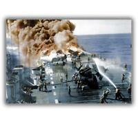 """War Photos 1944 USS Belleau Wood (CVL-24) Burning WW2 Glossy Size """"4 x 6"""" inch L"""