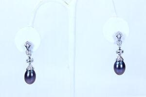 """Beautiful 14K WG Tahitian Pearl & 1.25ctw SI1/I Diamond Drop Earrings 1.5""""-13971"""