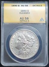 1890 $1 Morgan Silver Dollar AU 58
