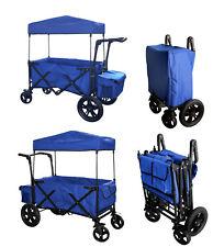 BLUE OUTDOOR FOLDING PUSH WAGON CANOPY GARDEN UTILITY TRAVEL CART TIRES BRAKE