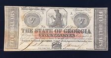 1862 Confederate States of America - $5 - State of Georgia - Five Dollar Bill