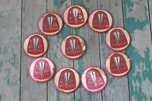 Ten Vintage 1950's Wheaties Cereal Premium Hudson Car Emblem Collectible Badges