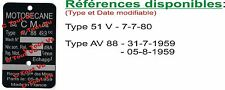 PLAQUE CONSTRUCTEUR MOTOBECANE à remplir - 51V & AV88  - VIN PLATE MOTOBECANE