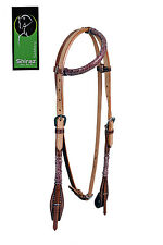 Western Natural Leather One Ear Rawhide Braided Headstall with Throat Latch