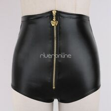 Womens Wetlook Patent Leather Hot High-waisted Shorts Pants Clubwear Black New
