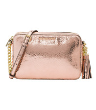 NWT Authentic MICHAEL KORS Soft Pink Metallic Leather Medium Camera Bag