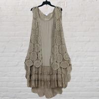 Plus Size Vintage Boho Festival Sleeveless Crochet Kimono Duster Cardigan Mocha
